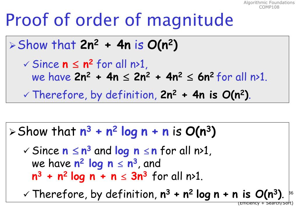 Proof of order of magnitude