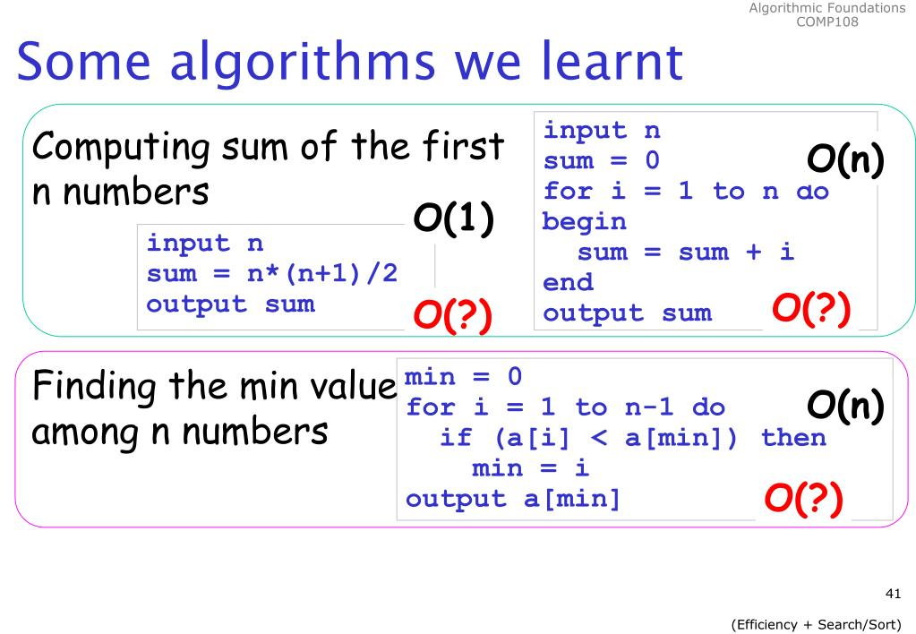Some algorithms we learnt