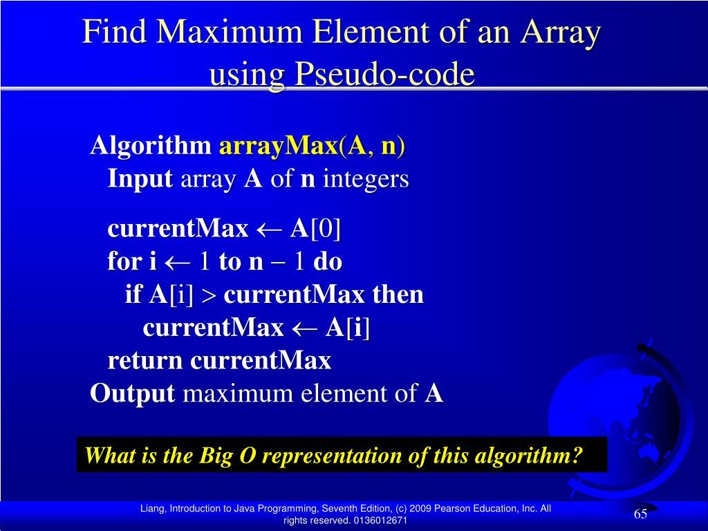 Find Maximum Element of an Array using Pseudo-code