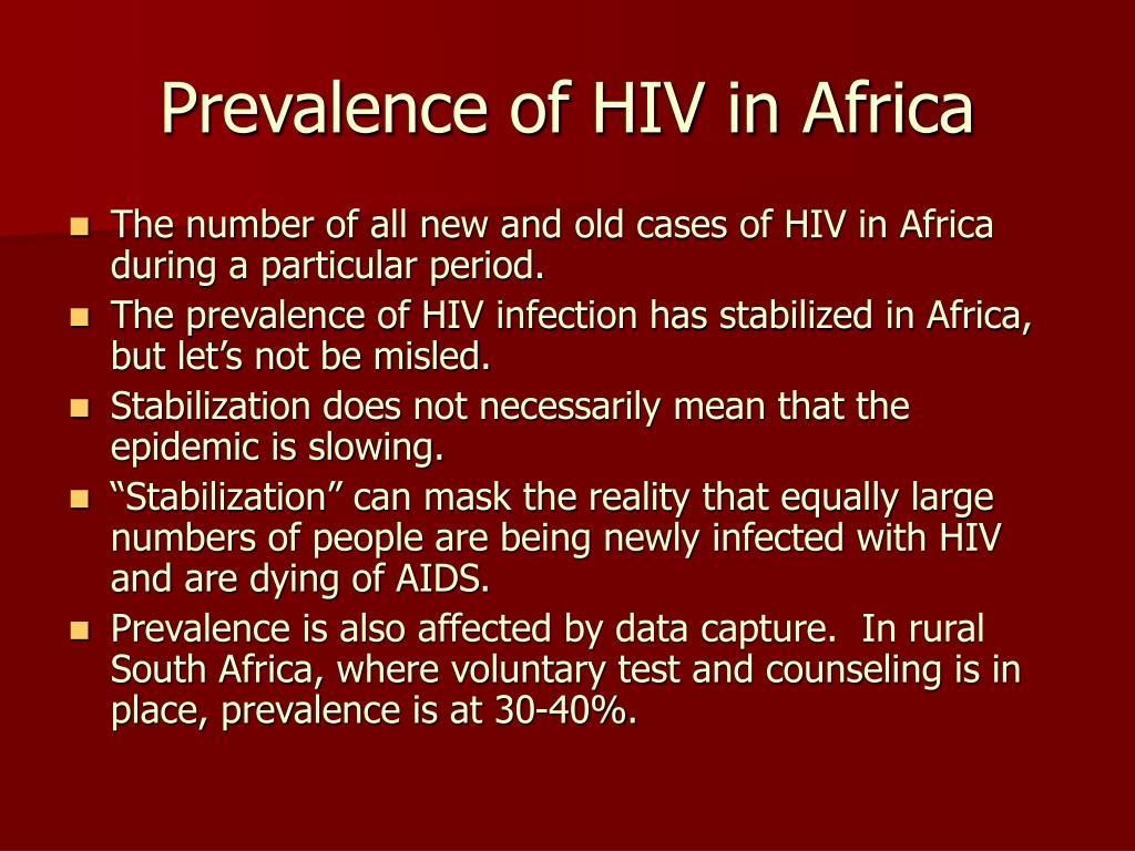 Prevalence of HIV in Africa