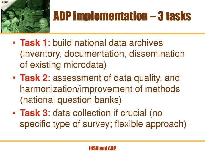 ADP implementation – 3 tasks