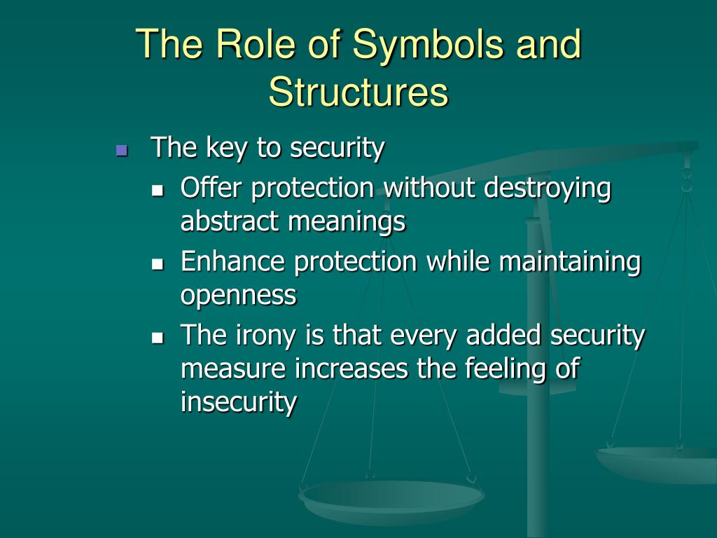 role of symbolism Symbolism is the use of symbols to signify ideas and qualities by giving them symbolic meanings that are different from their literal sense symbolism can take different forms generally, it is an object representing another to give it an entirely different meaning that is much deeper and more significant.