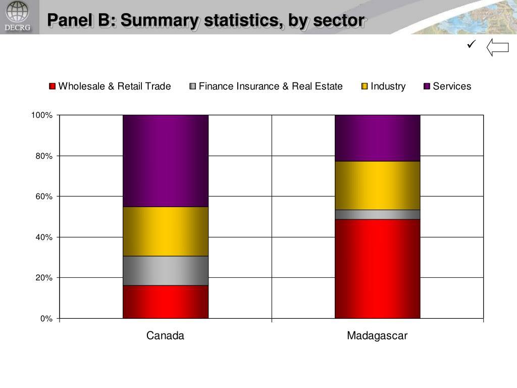 Panel B: Summary statistics, by sector