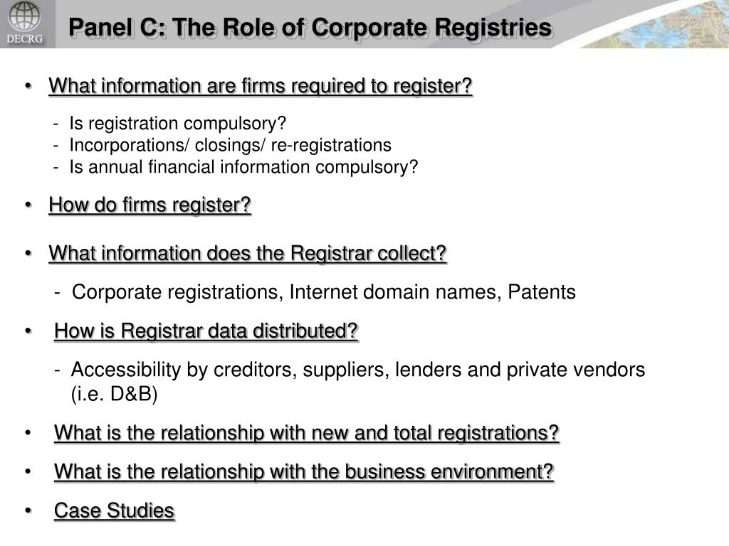 Panel C: The Role of Corporate Registries