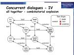concurrent dialogues iv all together combinatorial explosion