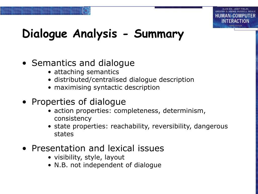 Dialogue Analysis - Summary