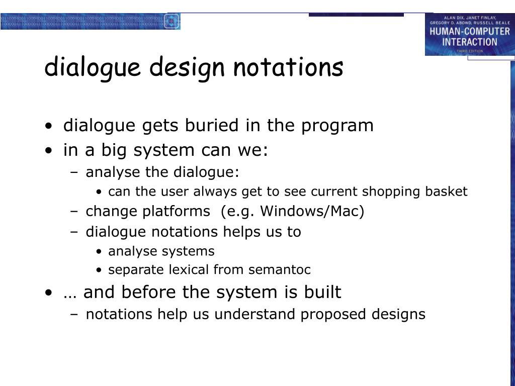 dialogue design notations