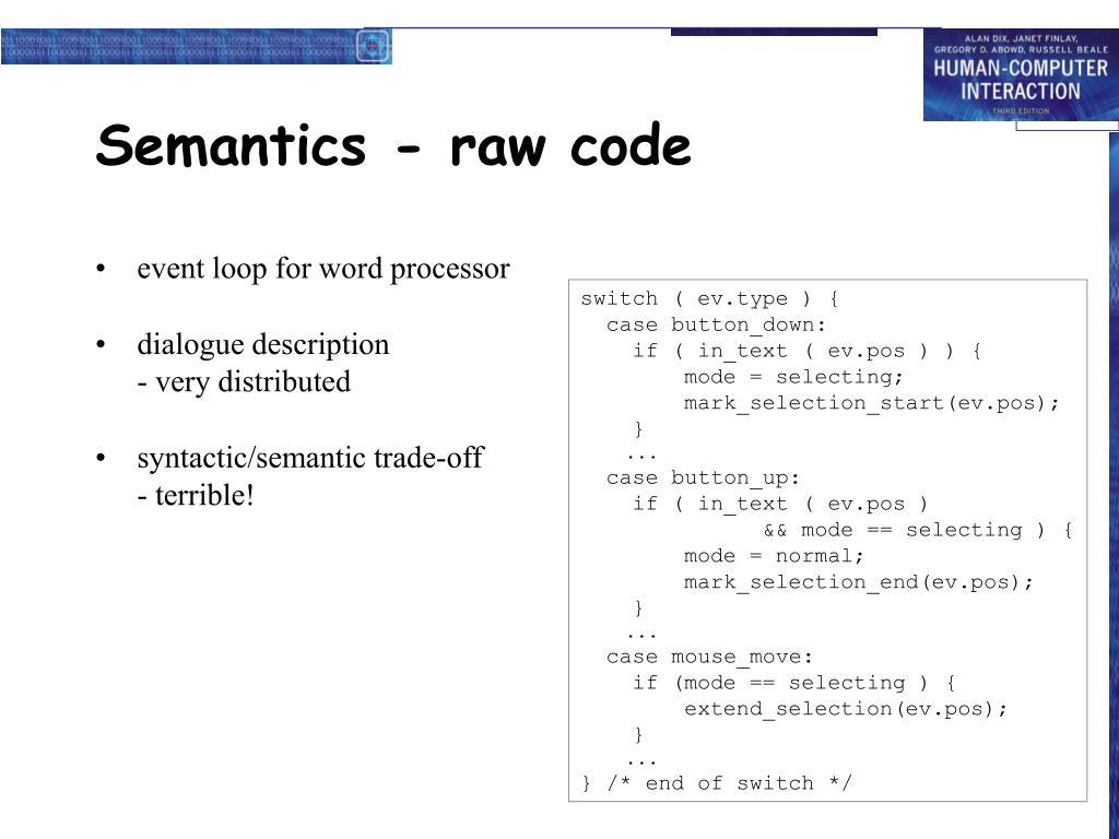 Semantics - raw code