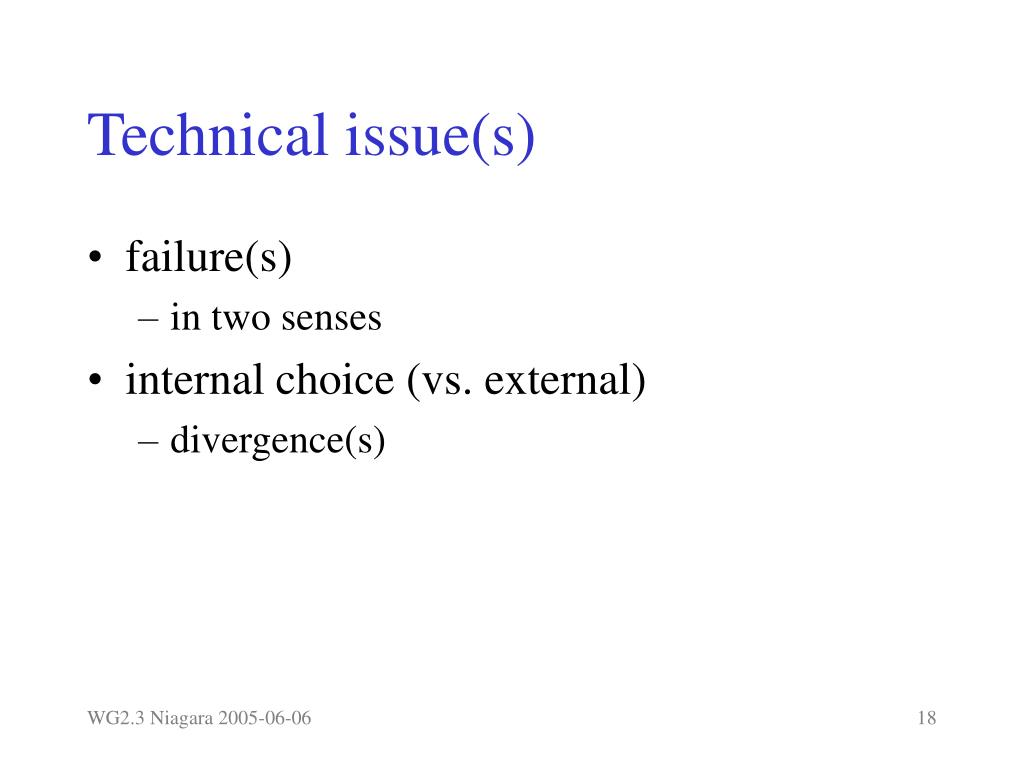 Technical issue(s)