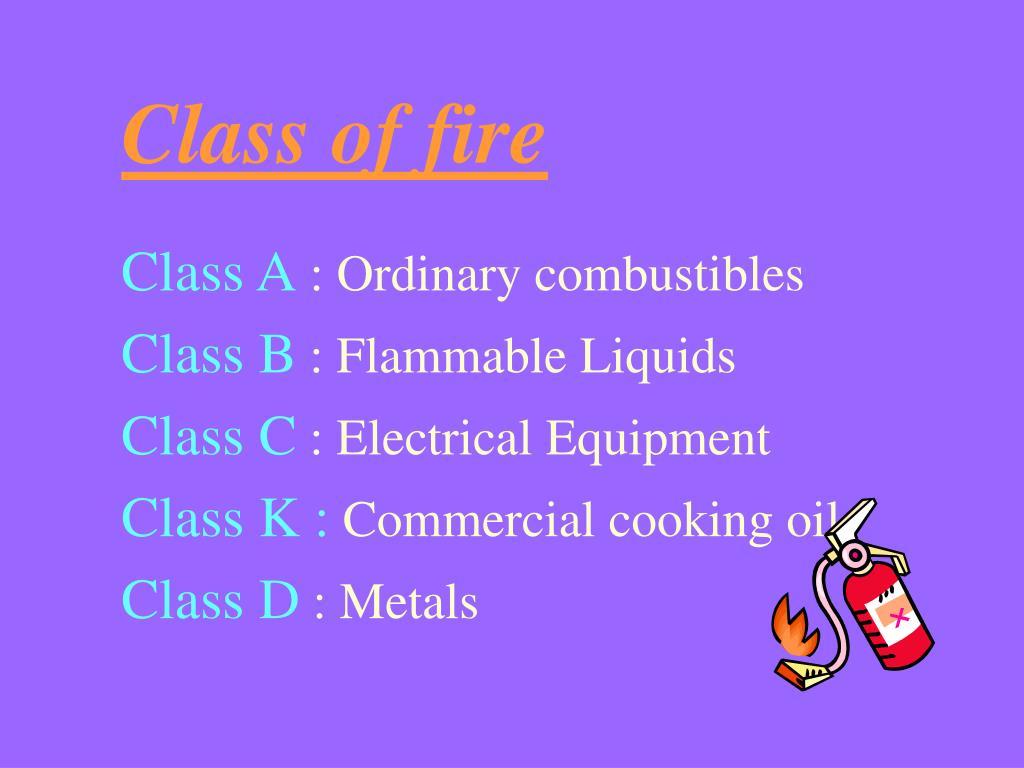 Class of fire
