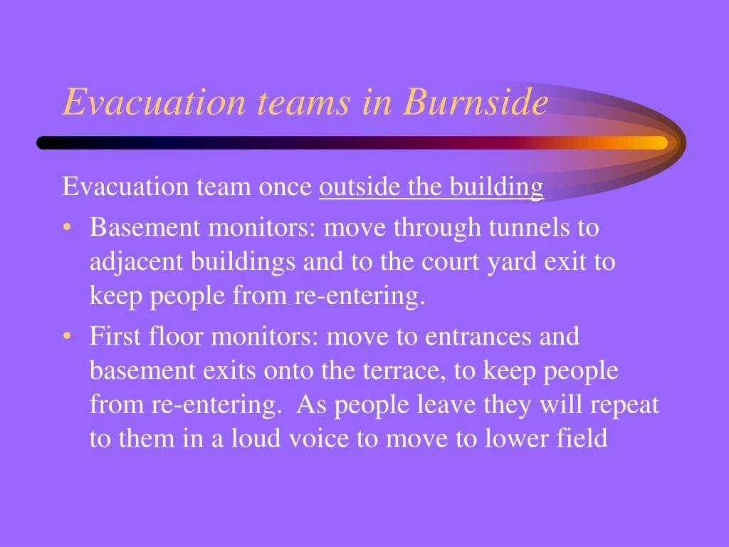 Evacuation teams in Burnside