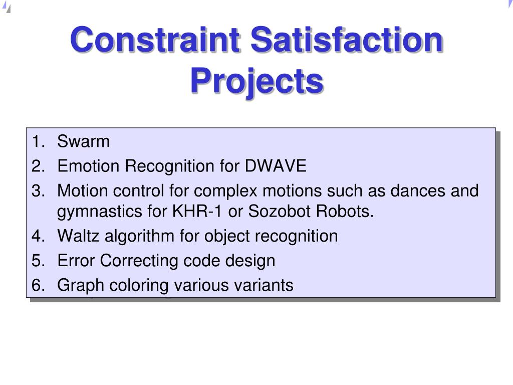 Constraint Satisfaction Projects