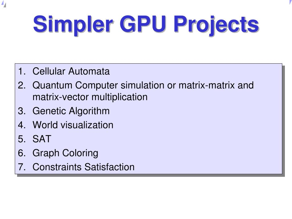 Simpler GPU Projects