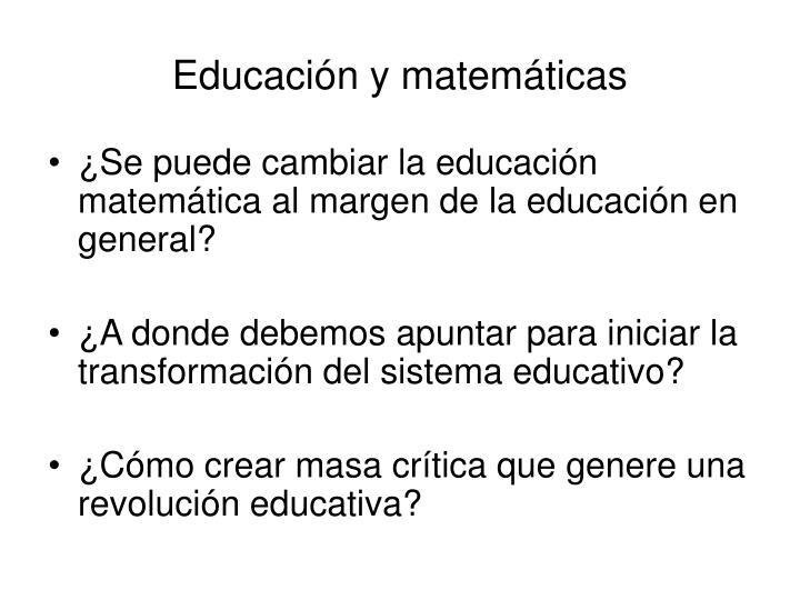 Educación y matemáticas