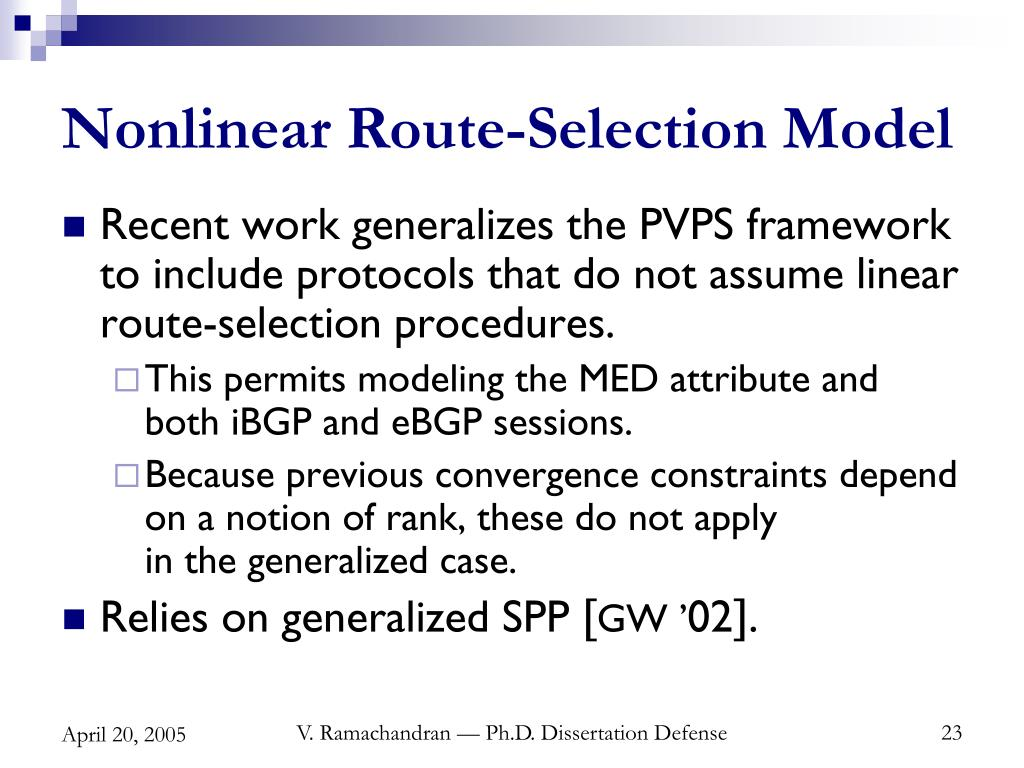 Nonlinear Route-Selection Model