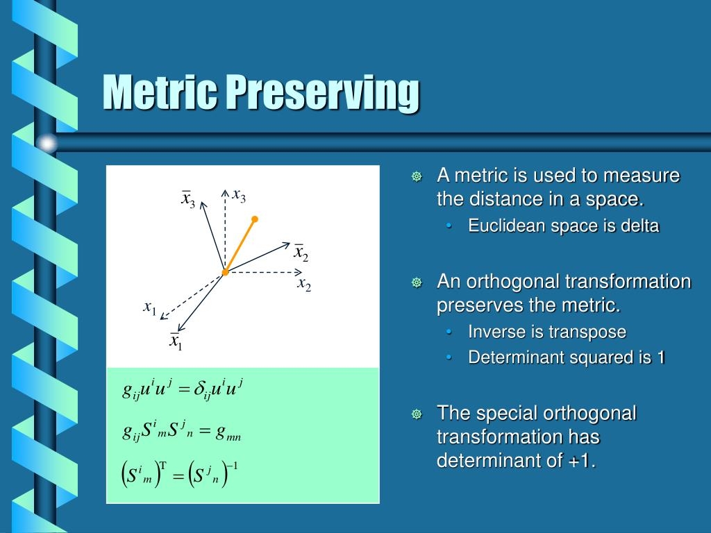 A metric is used to measure the distance in a space.