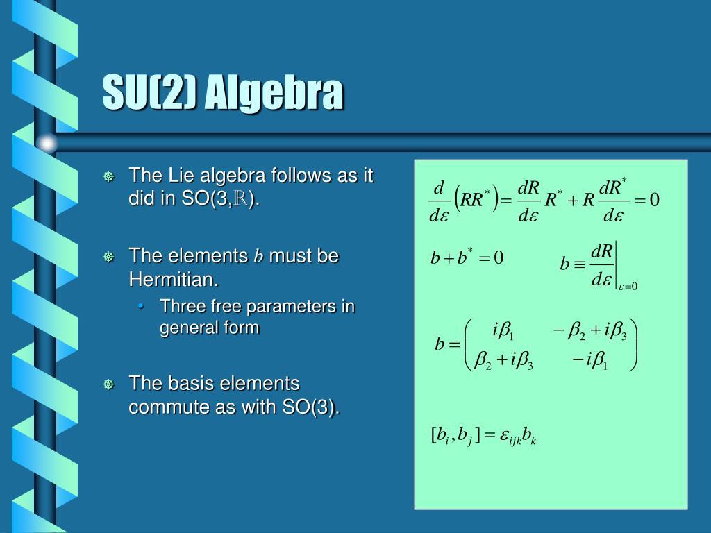 The Lie algebra follows as it did in SO(3,