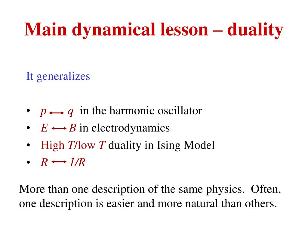 Main dynamical lesson – duality