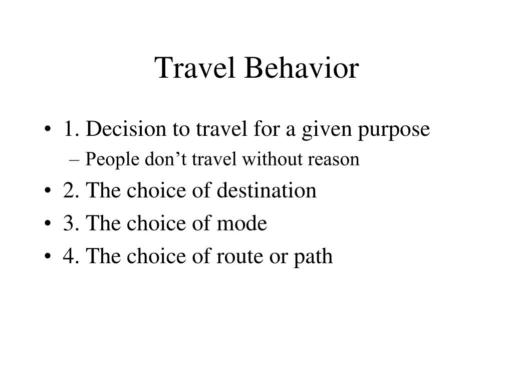 Travel Behavior