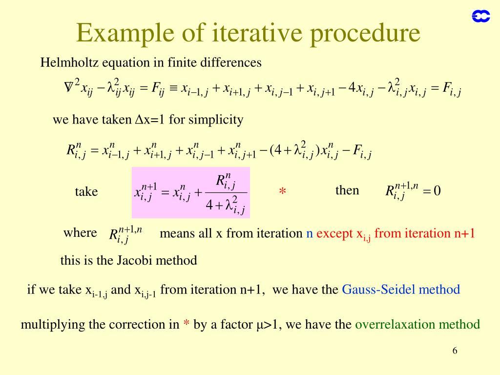 Example of iterative procedure