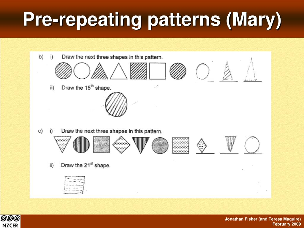 Pre-repeating patterns (Mary)