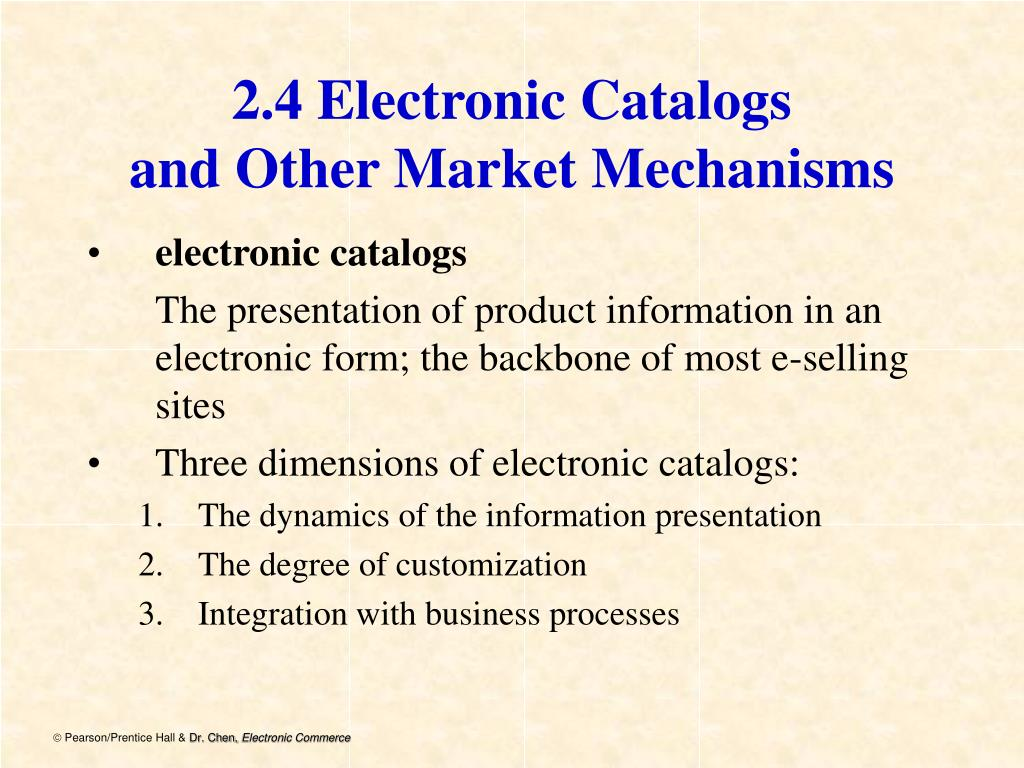 2.4 Electronic Catalogs