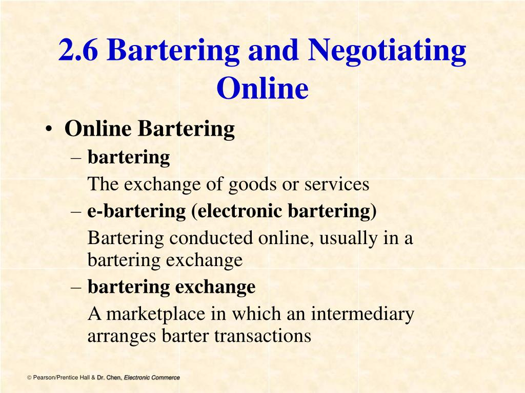 2.6 Bartering and Negotiating Online