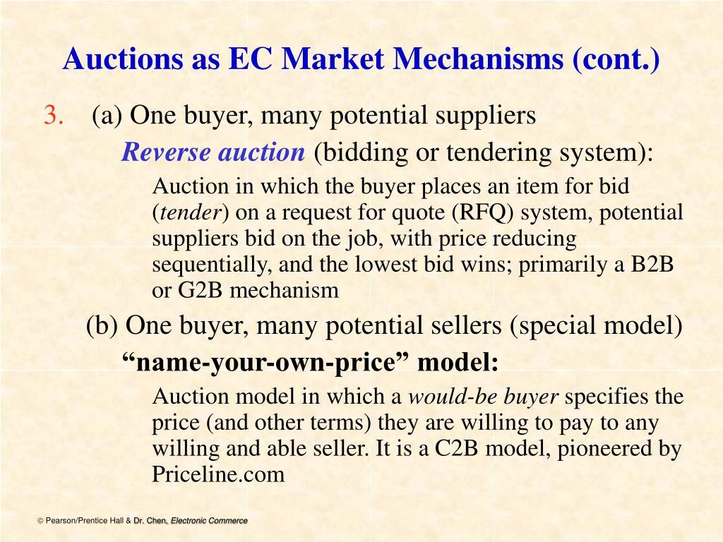 Auctions as EC Market Mechanisms (cont.)