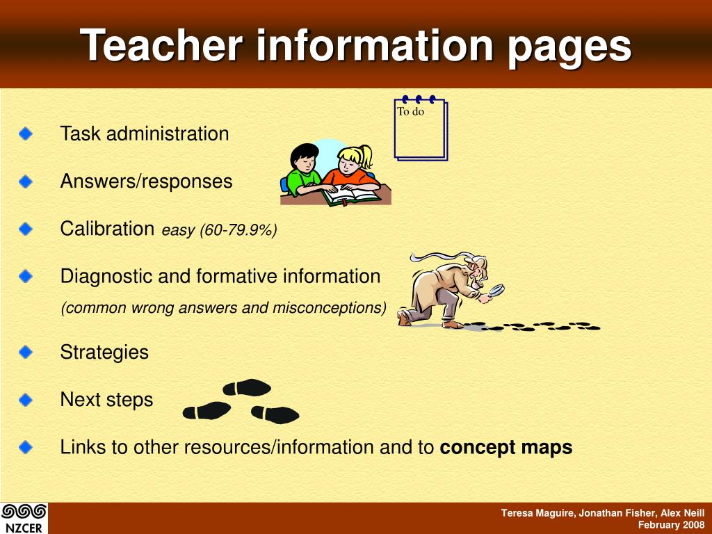 Teacher information pages