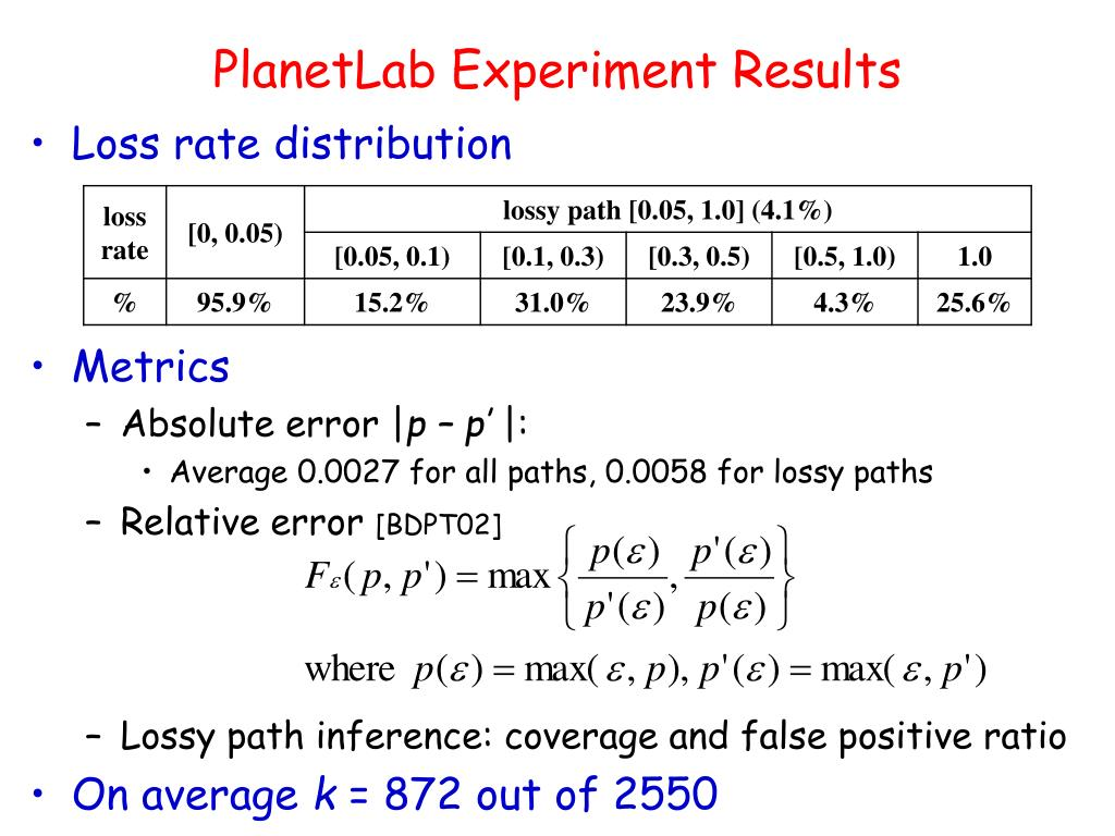 PlanetLab Experiment Results