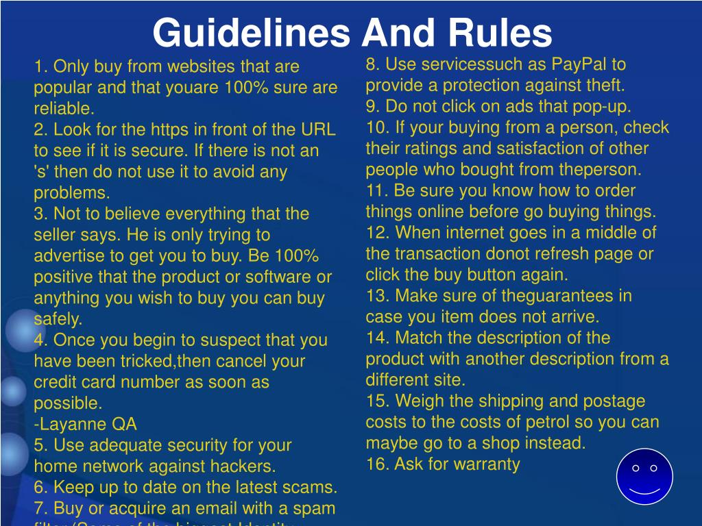 Guidelines And Rules