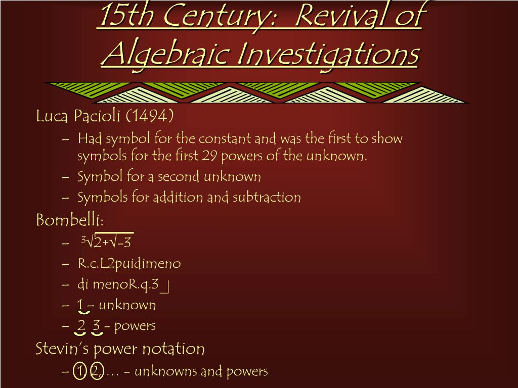15th Century:  Revival of Algebraic Investigations