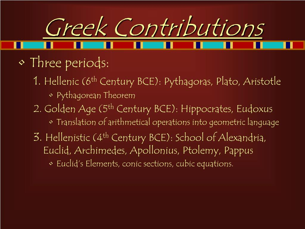 Greek Contributions