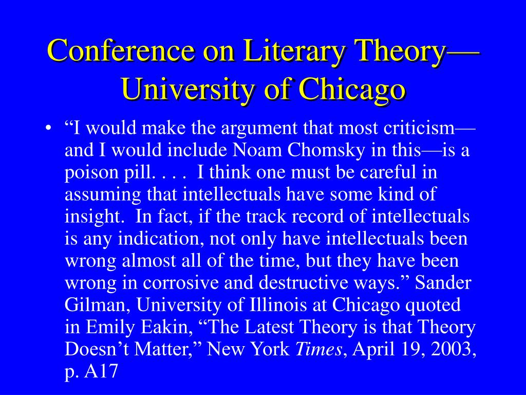 Conference on Literary Theory—University of Chicago