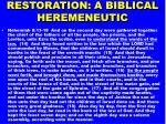 restoration a biblical heremeneutic