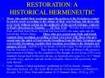 restoration a historical hermeneutic
