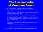 the hermeneutic of common sense