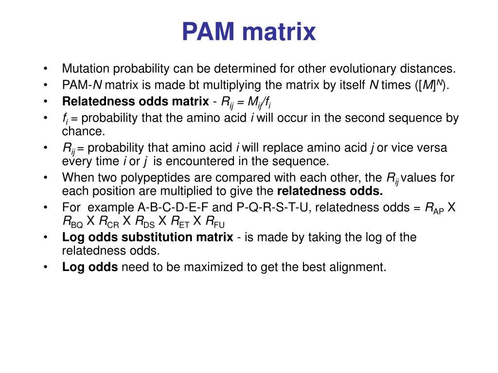 PAM matrix