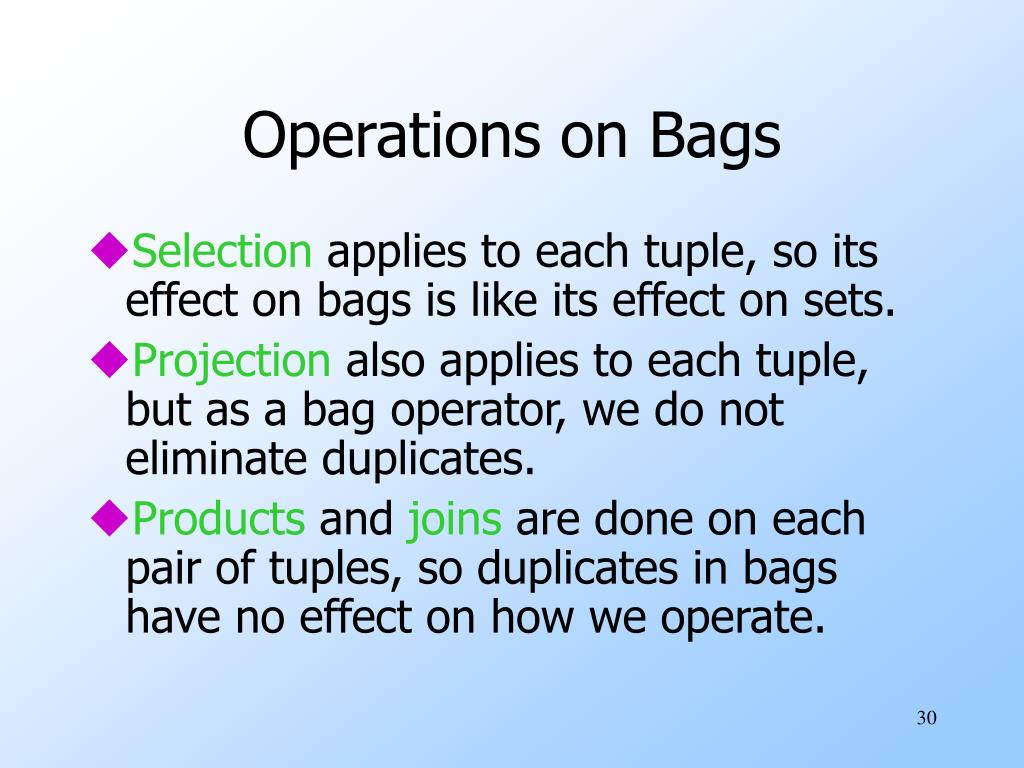 Operations on Bags