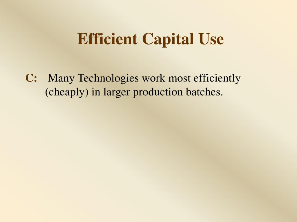 Efficient Capital Use