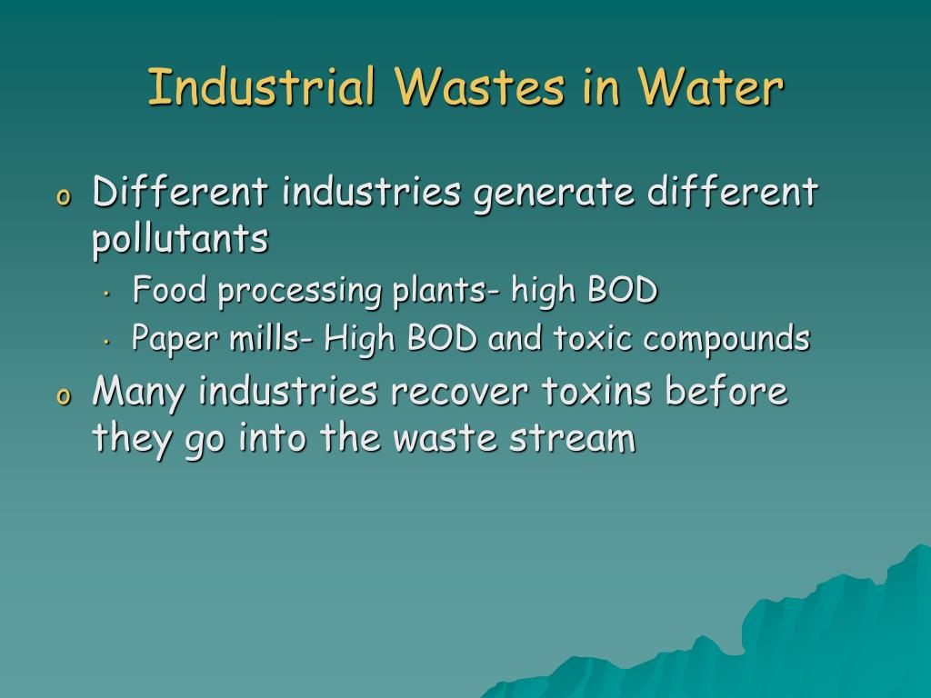 Industrial Wastes in Water