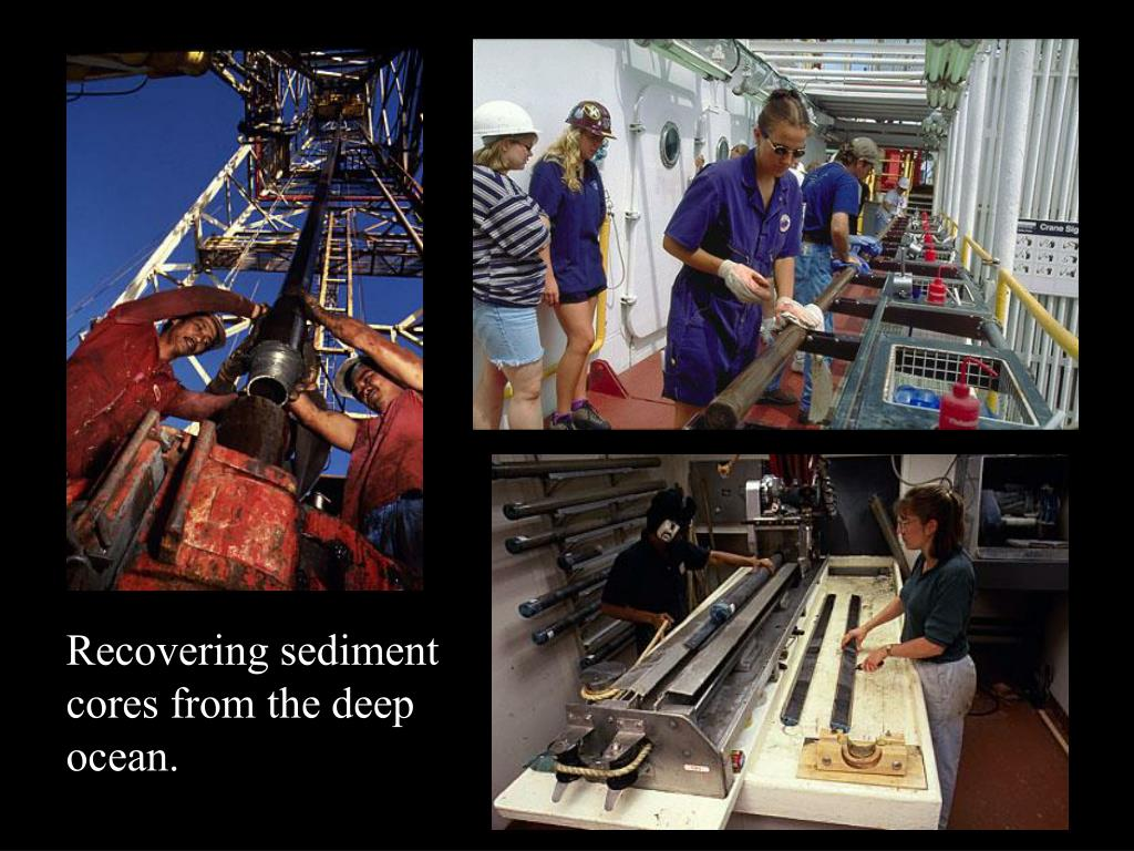 Recovering sediment cores from the deep ocean.