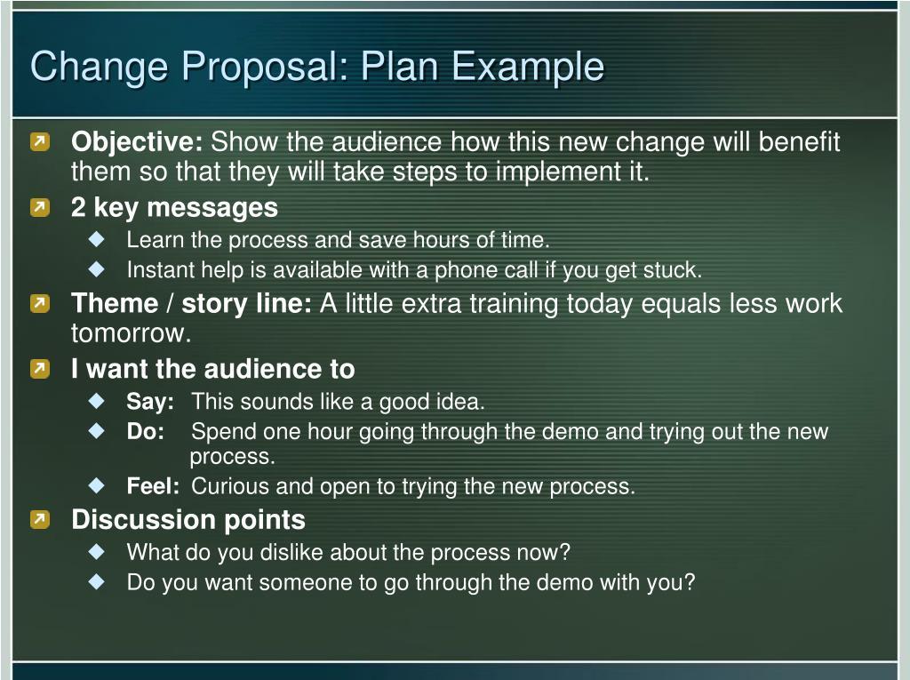Change Proposal: Plan Example