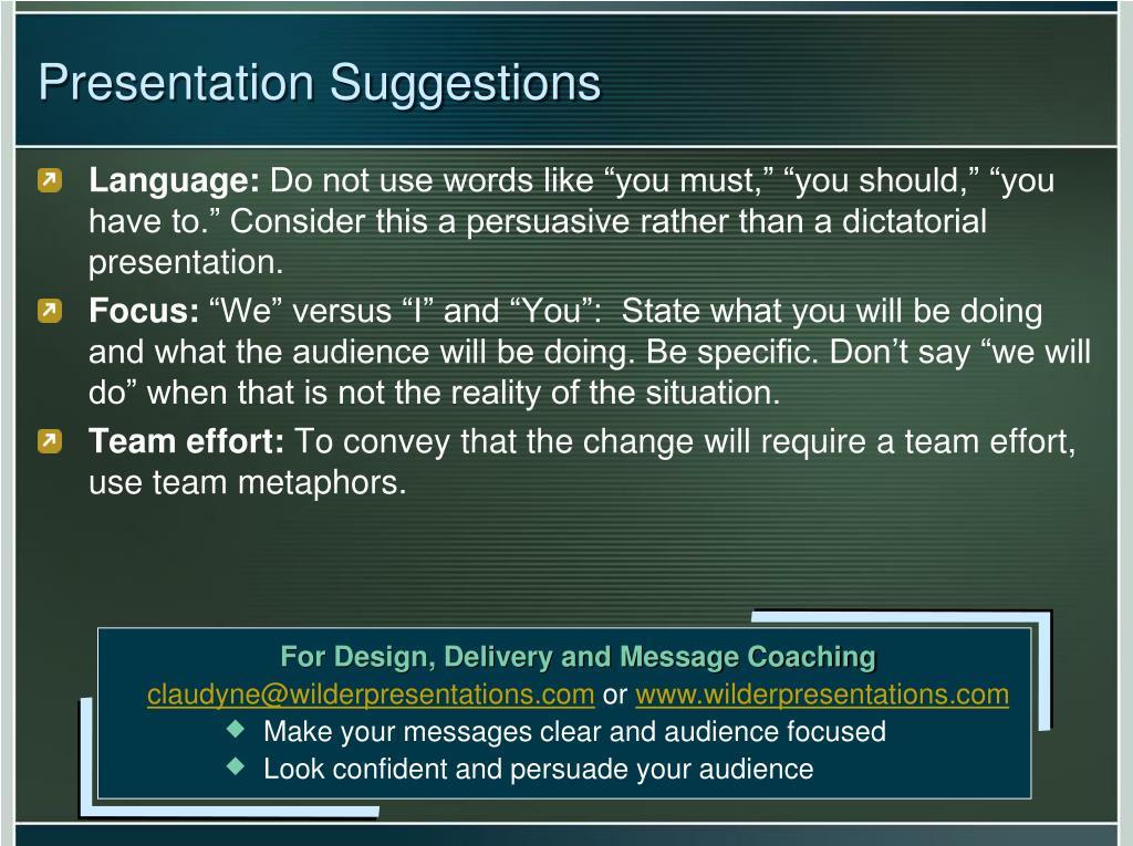 Presentation Suggestions