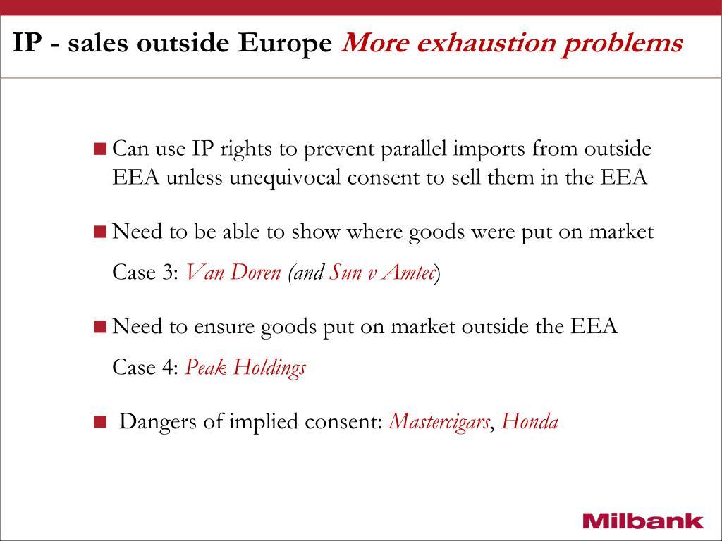 IP - sales outside Europe