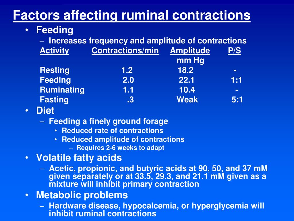 Factors affecting ruminal contractions