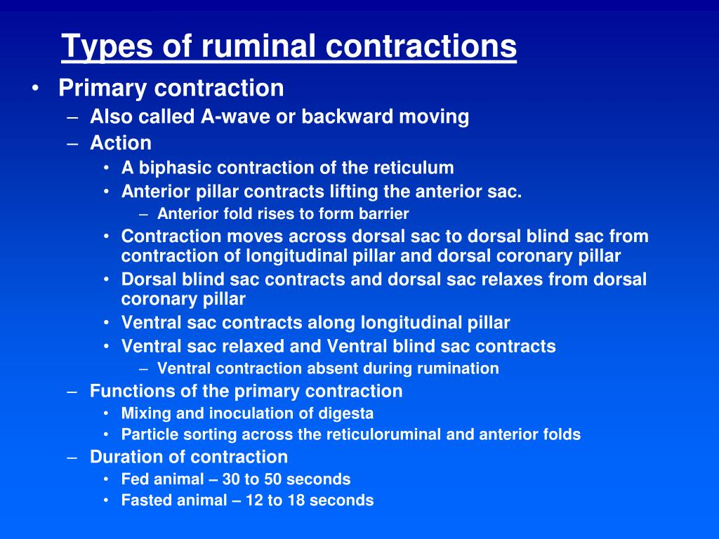 Types of ruminal contractions