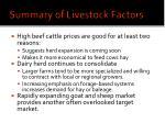 summary of livestock factors