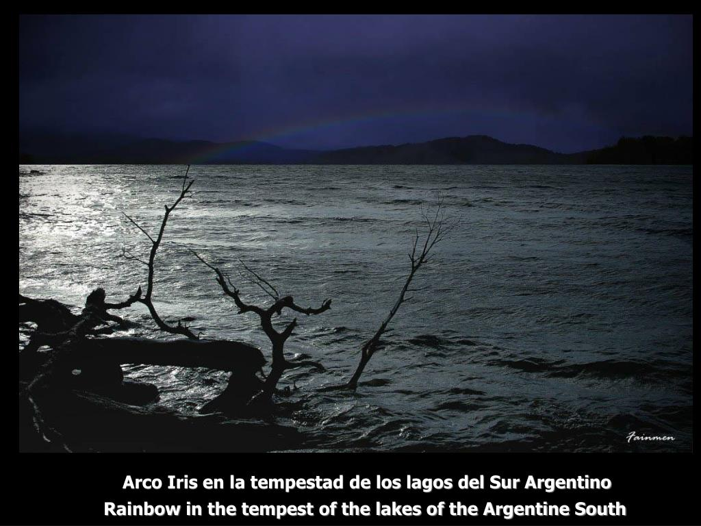 Arco Iris en la tempestad de los lagos del Sur Argentino