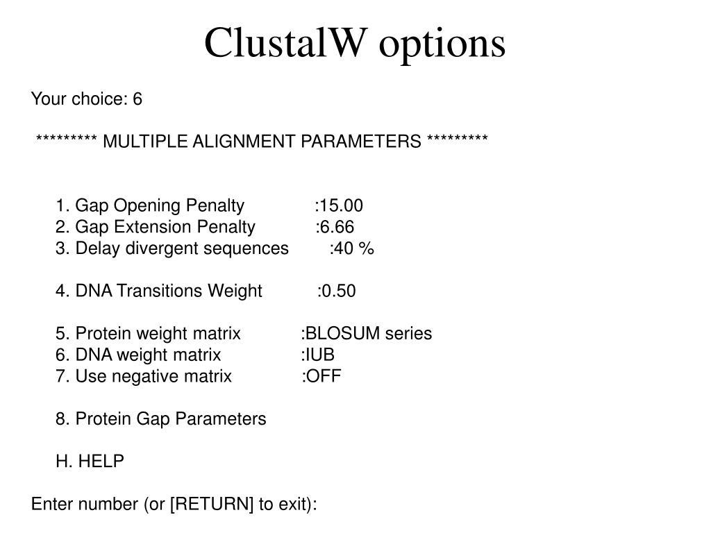 ClustalW options